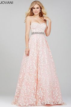 pink strapless sweetheart neck A line ballgown with crystal embellished waistline available in min and white.