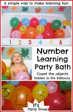 Number Learning Party Bath- such a fun way to introduce numbers to children and foster a lifetime LOVE of learning!