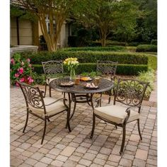 Hanover Traditions 5-Piece Patio Outdoor Dining Set with 4-Cast Aluminum Dining Chairs and 48 in. Round Table TRADITIONS5PC at The Home Depot - Mobile