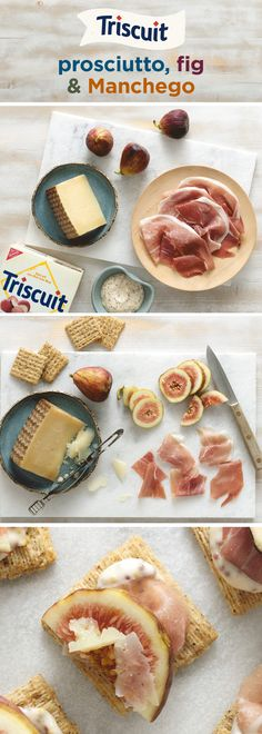 Sweet & salty always go well together, especially with this fantastic combination! Start by mixing mayonnaise and mustard until blended, then spread onto a tray of TRISCUIT Cracked Pepper & Olive Oil Crackers. Top crackers with prosciutto and figs Appetizers For Party, Appetizer Recipes, Snack Recipes, Cooking Recipes, Fig Recipes, I Love Food, Good Food, Yummy Food, Tapas