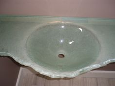 Fusion Glass Vanity Countertop Done For A Residence In Connecticut.  Countertop Features An Integral Sink