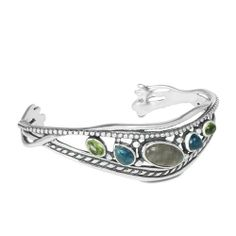 """Relios Sterling Silver Multi-Gemstone Cuff Bracelet Relios Jewelry. $204.98. Measures 5-1/2"""" Inside Circumference. Proudly American Made. Genuine .925 Sterling Silver. Natural Gemstones: Labradorite, Apatite, Peridot. Lifetime Warranty. Save 10%!"""