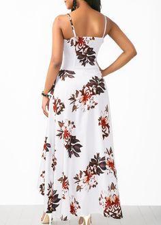 Overlap Flower Print White Slip Dress | Rosewe.com - USD $34.43