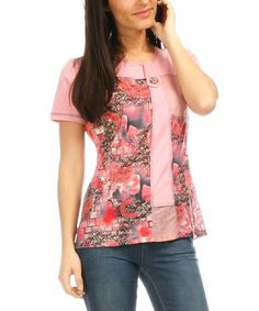 Love this Pink & Gray Floral Tunic - Women & Plus on #zulily! #zulilyfinds