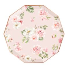 These floral paper plates feature a romantic watercolor pattern on a soft blush background, trimmed in rose gold foil. Floral Paper Plates, Rose Gold Plates, Watercolor Rose, Watercolor Pattern, Party Plates, Dinner Plates, Tea Party Bridal Shower, Bridal Showers, Balloon Arrangements