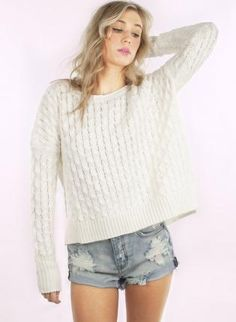 Off-white Sweater - Ivory Long Sleeve Cable Knit
