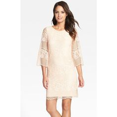 ERIN erin fetherston 'Maybelle' Lace Shift Dress ($177) ❤ liked on Polyvore featuring dresses, rose, honey comb, 3/4 sleeve shift dress, lace dress, pink floral dress and boho lace dress