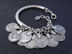 Silver Coin Chain Bar Bracelet  Tribal Ethnic by NazarLuckDesign