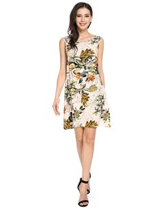 2946b909b8911a Zeagoo Multicolor Print Tie Back Sleeveless Shift Dress at Amazon Women's  Clothing store: Floral Shorts