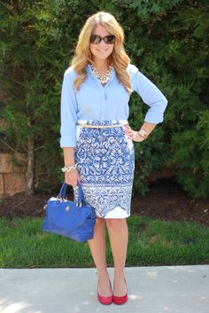 J. Crew Porcelain Paisley skirt, this is absolutely the perfect pencil skirt!  Love this outfit for work...and this site has so much office outfit inspiration, pin this and check it out!