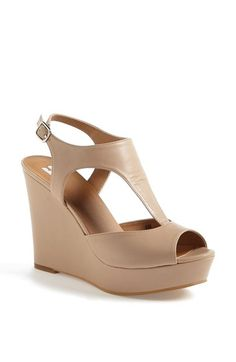 BP Springs Wedge' Sandal-Light Taupe. A towering wrapped wedge boosts a contemporary sandal cut with muted curves.-Nordstrom