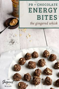 These easy to make chocolate peanut butter energy bites are the perfect to-go snack when you need something healthy yet want something sweet! Healthy Spring Recipes, Summer Dessert Recipes, Great Desserts, Healthy Meals For Kids, Snack Recipes, Snacks, Peanut Butter Energy Bites, Peanut Butter Protein, Chocolate Peanut Butter