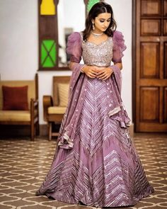 Lavender color lehenga with silver work and puff sleeved blouse Designer Bridal Lehenga, Pakistani Bridal Lehenga, Lehenga Choli Designs, Wedding Dresses For Girls, Party Wear Dresses, Girls Dresses, Half Saree Designs, Fancy Blouse Designs, Indian Bridal Outfits