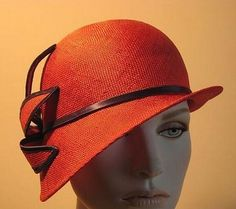 Designer Cloche Hats | Ladies Red Straw Designer Profile Cloche Bell Derby Hat - 2010 ANDRE ...