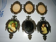 Lot of 6 Small Vintage Oval Metal Picture Frames Children Mirror Glass Italy | eBay