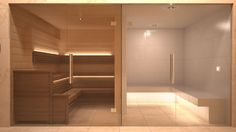 Adjacent Sauna (Left) & Steam Room (right) - White Tile Finish Contemporary Saunas, Penny Round Tiles, Sauna Steam Room, Spa Design, Massage Room, Room Tiles, Home Spa, White Tiles, Interior