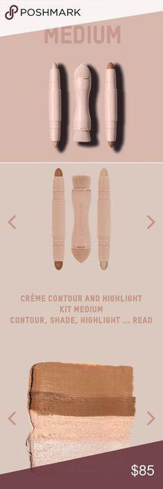 Medium - KKW Beauty Contour Kit Authentic. In original unopened packaging by Kim Kardashian West. KKW Beauty Contour Kit in Medium. Sold out online. Last picture is me wearing my own KKW Beauty Crème Contour and Highlight Kit in Light to show real life results. Kylie Cosmetics Makeup Luminizer