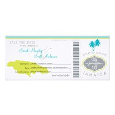 Save the Date Boarding Pass to Jamaica Card This is an original design by La Bella Rue. Please do not copy in anyway. Boarding pass wedding save the date. I've chosen a white linen cardstock however you may choose an alternate cardstock. Please Note Basic White has a Glossy front. Metallic might be nice as well. If the color scheme is not what you wanted please let me know and I'll recreate that for you.