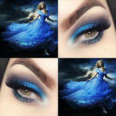 Tutorial – maquiagem inspirada no vestido da Cinderella Disney Eye Makeup, Disney Inspired Makeup, Prom Makeup, Wedding Makeup, Cinderella Makeup, Disney Princess Makeup, Fairy Makeup, Makeup Art, Beauty Makeup