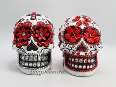 Skull Mexican white and red day of dead weddings cake topper handmade bride and groom on Etsy, $120.00