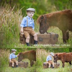 Boy and miniature Pony Horse photo shoot vintage kids style fashion suspenders and newsboy drivers hat, old suitcase. Children's Photography Brisbane Dayboro Samford QLD Australia. (C) Peas & Carrots Photography.