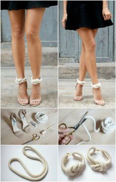 Heel Straps 21 Beautifully Stylish Rope Projects That Will Beautify Your Life Diy Clothing, Sewing Clothes, Diy Fashion, Fashion Shoes, Fashion Trends, Fashion Clothes, Fashion Beauty, Fashion Design, Shoe Refashion