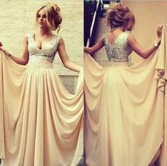 Champagne Sexy Nude Chiffon Long Prom Dresses, Off the Shoulder V Neck Sequin Beads Bodice Prom Dress