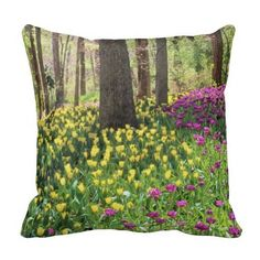 "Yellow and Purple Tulips in the Woods Throw Pillow, with digitally rendered ""watercolor"" image from photograph shot during a spring visit to Garvan Woodland Gardens in Hot Springs, Arkansas. (http://www.zazzle.com/yellow_and_purple_tulips_in_the_woods_throw_pillow-189376799007337467?CMPN=addthis&lang=en&rf=238581717104918999) (https://www.facebook.com/hawcreek)"