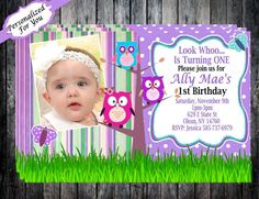 1st Birthday Owl Invitation  Personalized by AimToPleaseCreations, $8.99