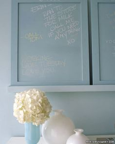 Add a message board. Install a small chalkboard or white board for jotting notes and reminders. A cloth-covered piece of Homasote board (at hardware stores and home centers) can hold messages. A calendar, mail sorter, and battery-operated clock are also handy if space allows.