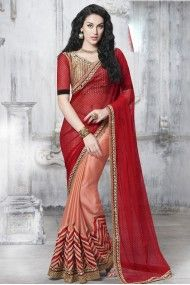 Net and Faux Satin Chiffon Designer Saree In  Colour