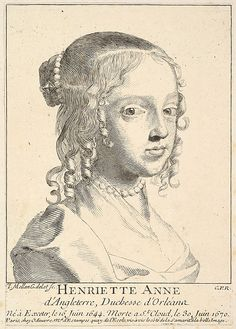 Henriette-Anne of England, Minette, duchesse d'Orléans century engraving by Claude Mellan Exeter, Charles Ii Of England, Ludwig Xiv, King James I, French Royalty, Baroque Art, Louis Xiv, Claude, Heritage Image