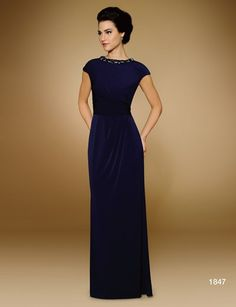 Elegant blue mother of the bride gown with embroidery work in the neck