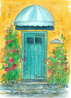 Blue Door at 7 Dobson watercolor painting by Cathie Richardson