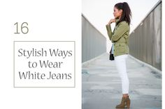 16 Stylish Ways to Wear White Jeans If you catch yourself wondering, what to wear with white jeans, come back to this post & use it for inspiration. Bookmark or pin your favorite outfits. Business Casual Attire For Women, What Is Business Casual, Business Outfits, Ways To Wear A Scarf, How To Wear Scarves, How To Wear Ankle Boots, Knee Boots, Cold Weather Outfits, White Pants
