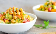 This recipe combines that comfort with crispy, oven-roasted chickpeas and vegetables like cauliflower and squash in a meal that deviates from your standard dinner.