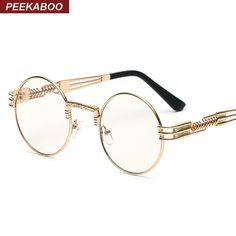 5c8776ebe53 Peekaboo clear fashion gold round frames eyeglasses for women vintage  steampunk round glasses frames for men