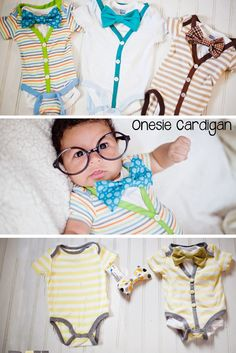 Super adorable and simple cardigan onesie tutorial. Sewing for dummies. Even I can do this. Perfect baby shower gift.