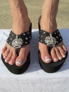 Miss Guidance  - Black Wedge Flip Flop Size 6 thru 10