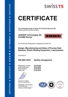 Leister Technologies ISO 9001 Certificate 2016 #certificate #leister #leistertechnologies #schweissen #welding #plasticwelding