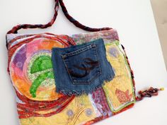 Bohemian Tote Bag; boho bag; created by PamHouseholderART: quilting, applique, art quilt, one of a kind, free form quilting, embellished, recycled, vintage, buttons, embroidery,  www.pkhouse45.etsy.com