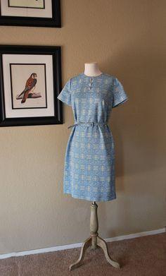 Vintage Aztec Sheath Dress Embossed 60s Belted by WaistlandVintage, $37.00