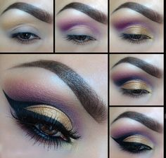 Step By Step Tutorial For Golden/Purple Eyeshadow With Double Winged Eye Liner On Top Eyelid
