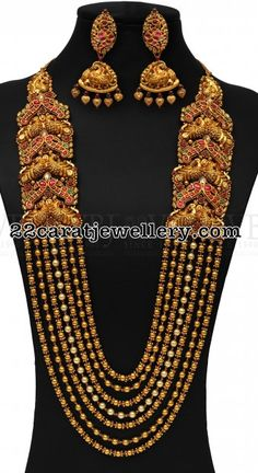 Gold Beads Chain with Peacocks - Jewellery Designs