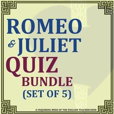 Need help measuring your students' reading comprehension of Shakespeare's Romeo & Juliet?  This zip file contains a set of five quizzes (one per Act) and corresponding answer keys.  All quizzes are in multiple choice format.  A breakdown of each individual quiz follows:Act 1.This zip file contains two documents.