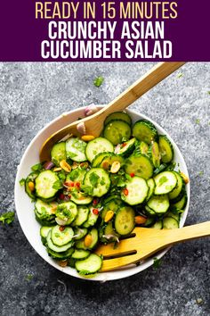 This crunchy Asian cucumber salad is cool, refreshing and perfect for summer! Simple to prepare and made with fresh cucumber, cilantro, shallots and peanuts tossed in a rice wine vinaigrette, it's a great way to cool down in the heat. #sweetpeasandsaffron #salad #vegan #glutenfree #paleo #dairyfree #vegetarian #summer #refreshing Vegetarian Meal Prep, Lunch Meal Prep, Meal Prep Bowls, Vegetarian Recipes, Best Lunch Recipes, Tofu Recipes, Asian Cucumber Salad, Different Salads, Work Lunches