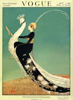 ⍌ Vintage Vogue ⍌ art and illustration for vogue magazine covers - 1901 Posters Vintage, Retro Poster, Art Deco Posters, Vintage Art, Art Deco Artwork, Art Deco Paintings, Vintage Woman, Vintage Prints, Vogue Vintage