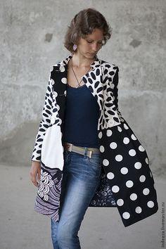 """Купить Летнее пальто """"Черно-белая графика"""" - в горошек, плащ, пальто летнее, чёрно-белый"""