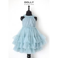 8550a8cb5f4ff DOLLY by Le Petit Tom Ruffled Chiffon Dance Dress in Sea Blue Queens  Tiaras, Dress