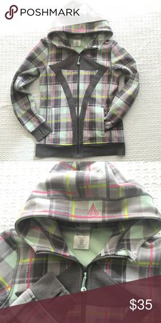 "Ivivva Remix Scuba Zip Hoodie Size 14 ""Ivivva athletica"" printed vertically throughout the plaid pattern. Full zip, double pockets, detachable hair band on zipper pull, and thumb holes! In great condition! lululemon athletica Jackets & Coats"